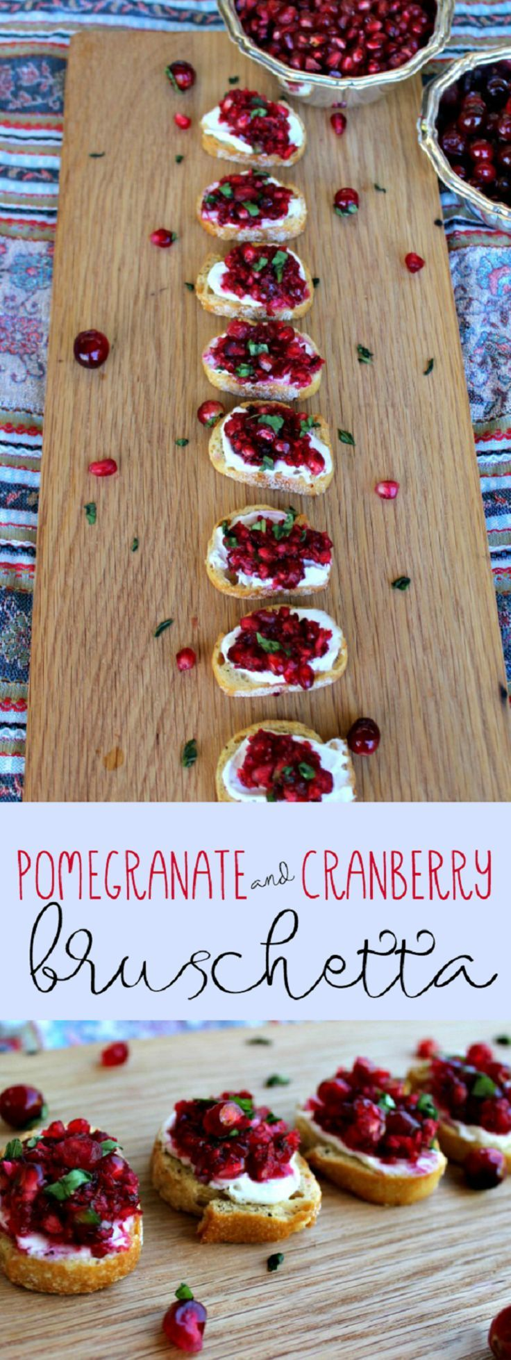 Pomegranate and Cranberry Bruschetta - 18 Welcoming Thanksgiving Appetizers that Will Accomplish Your Dinner Table #thanksgivingappetizersideas
