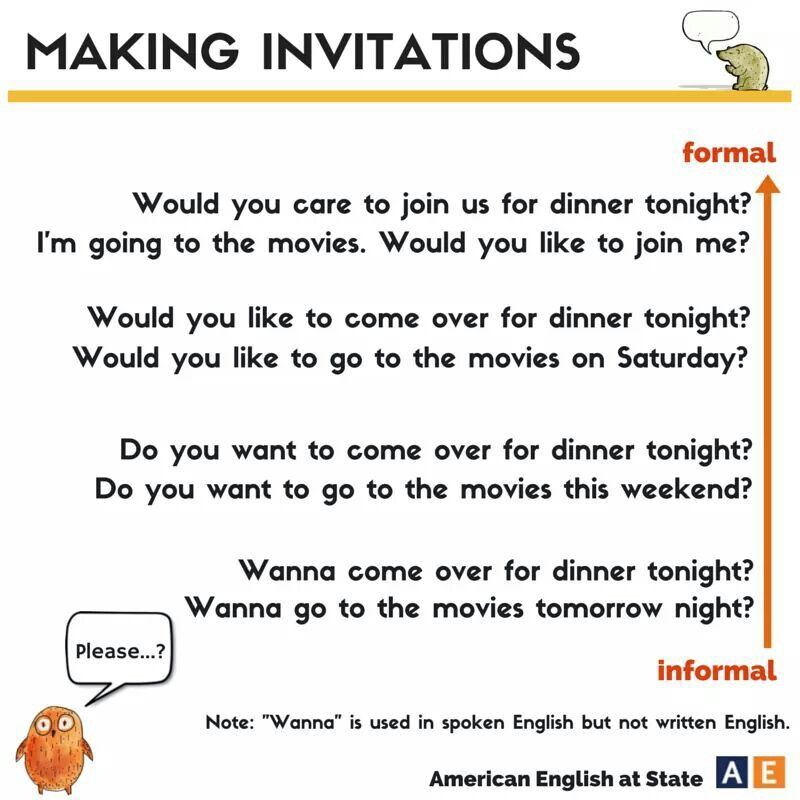 American English at State - Formal and informal invitations ESL - formal invitation via email