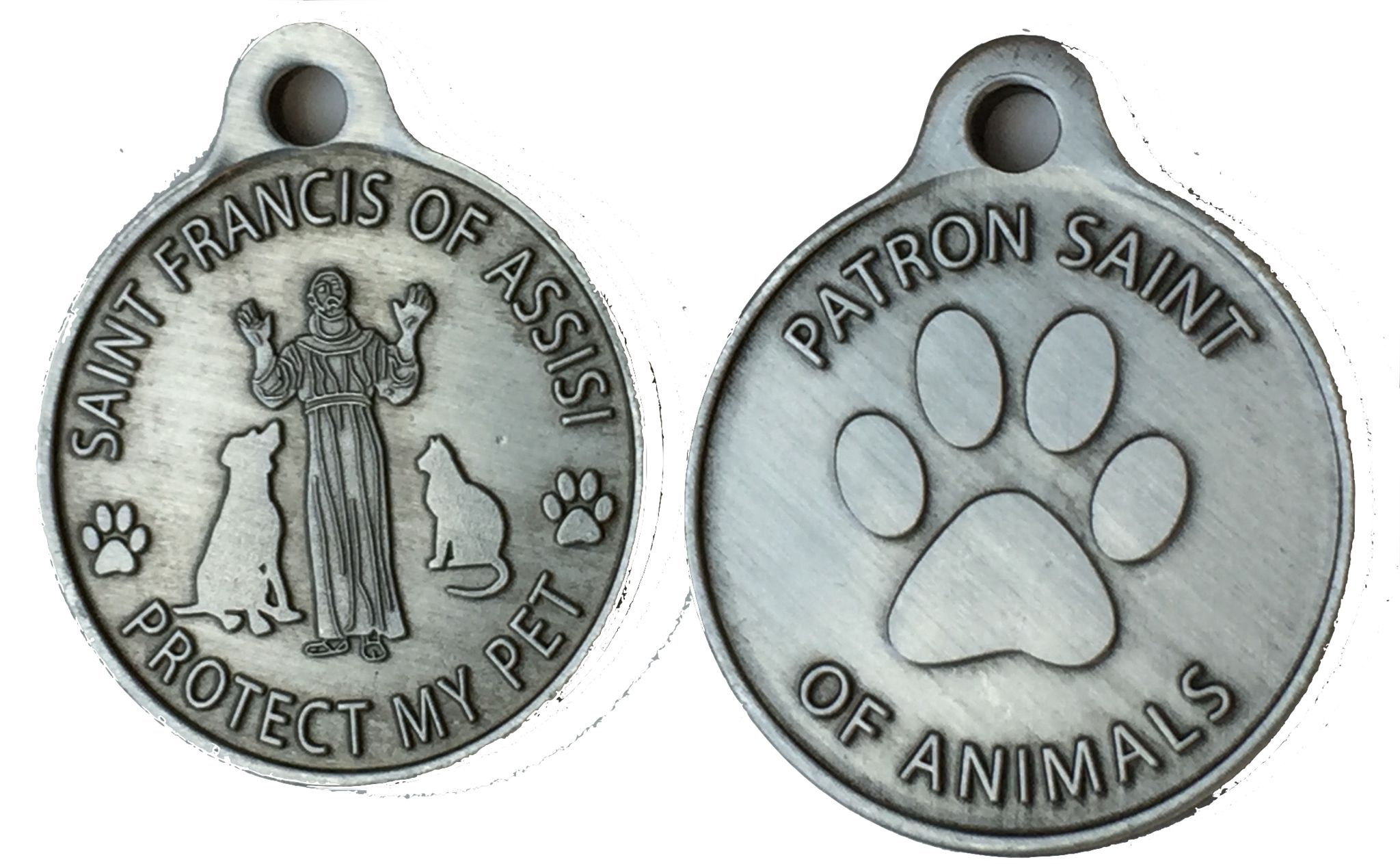 CAT DOG COLLAR BELL With Francis Of Assisi Patron Saint Of Animals Charms Pink