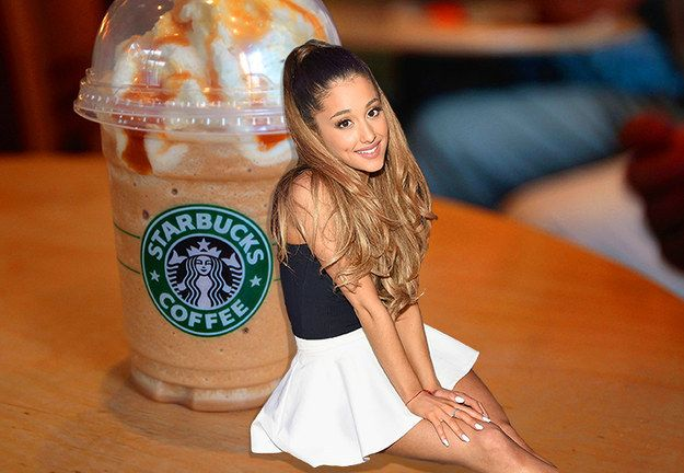 "The Ariana Grande • Start with the base of a grande-sized ""Cotton Candy Frappuccino"" (which is a vanilla bean and raspberry Frappuccino from Starbucks' secret menu). • Add extra mocha syrup. • Add extra mocha chips. • Blend. • Top with extra whipped cream. • Finish with a generous caramel drizzle."