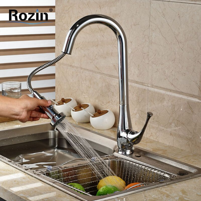 Brand New Kitchen Sink Pull Out Spout Faucet Single Handle Deck