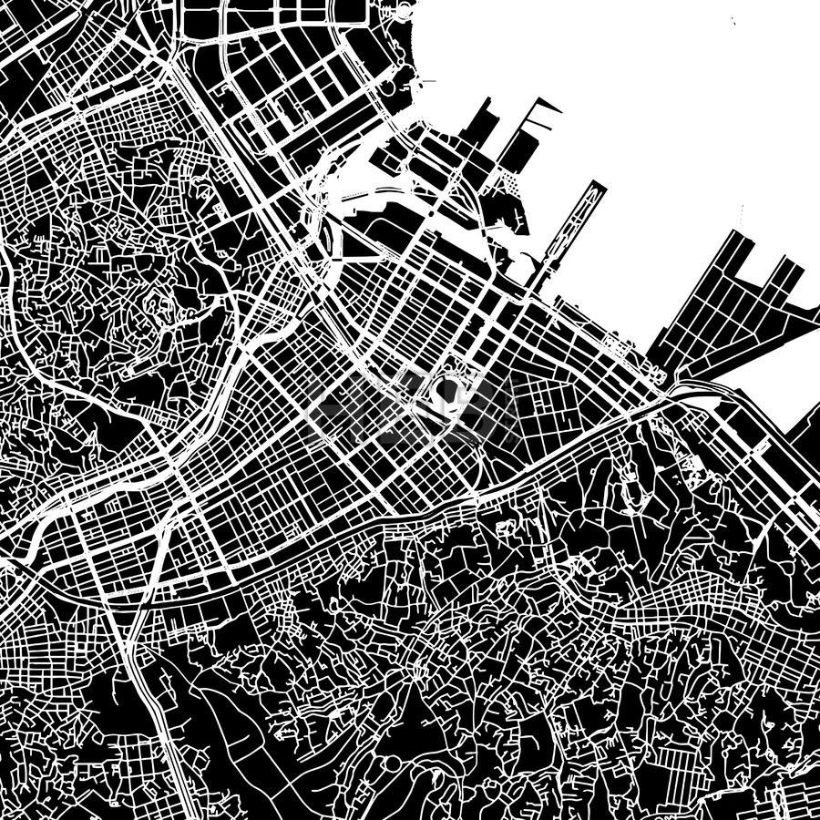 Yokohama Japan Downtown Vector Map Yokohama