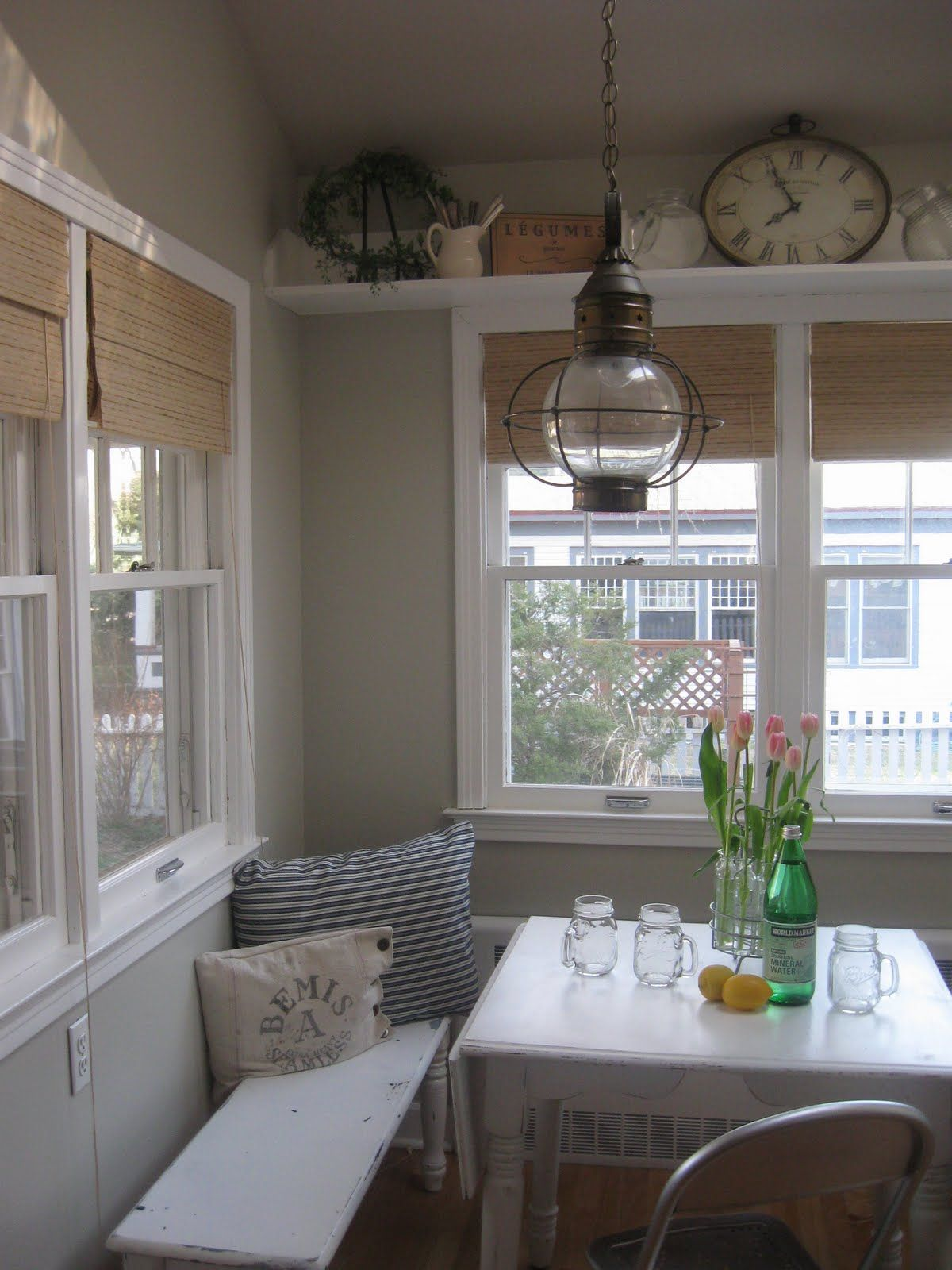 Kitchen nook window treatments  love the shelf over the window and the bench  home  pinterest