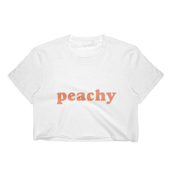 caba43dee8c Peachy Crop Top Women, Peach Emoji T-shirt, 70s crop top cotton, peach  aesthetic, crop top girls, cu