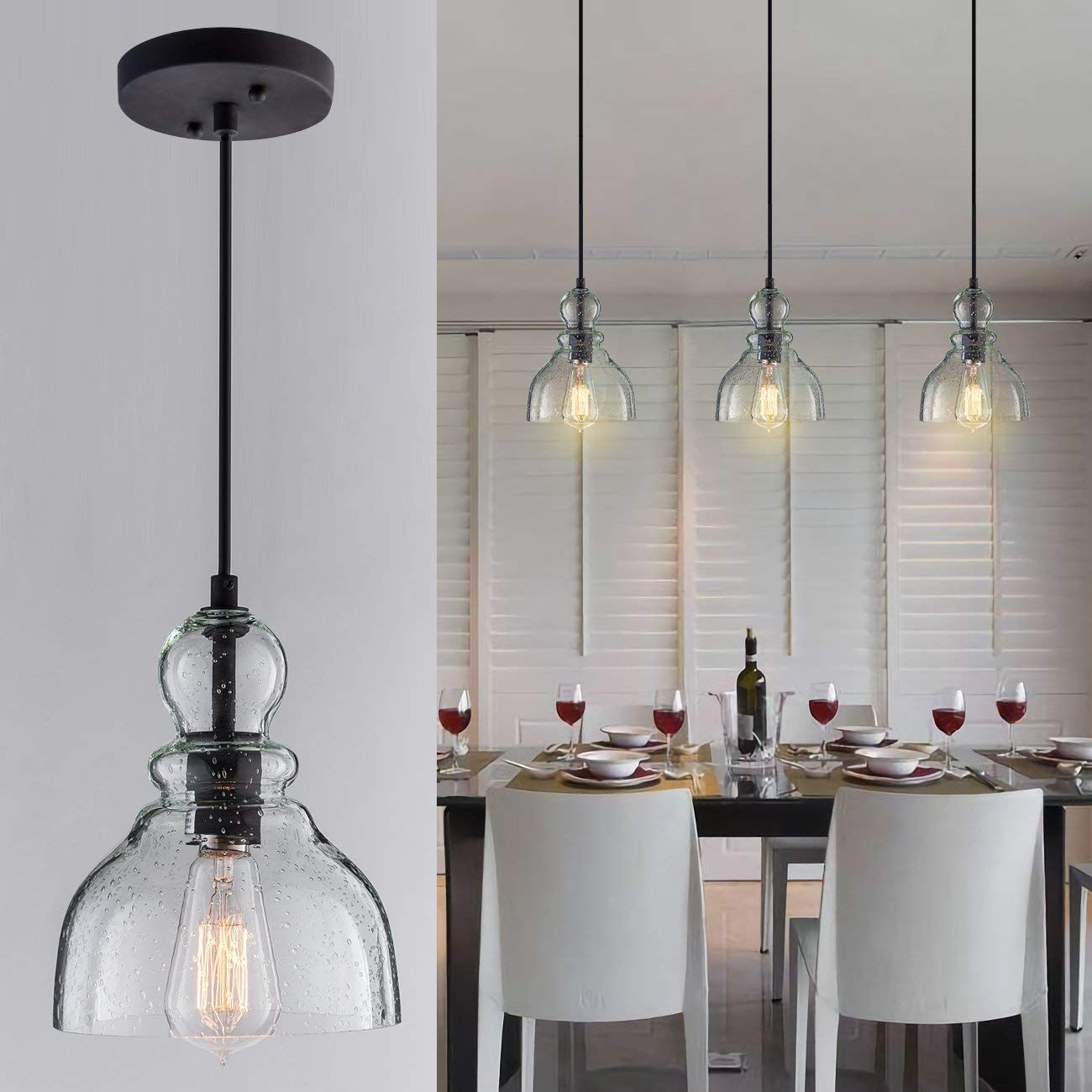 Donglaimei Industrial Mini Pendant Lighting With Handblown Clear