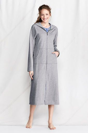 Women's Long Sleeve Hooded Zip Terry Robe from Lands' End