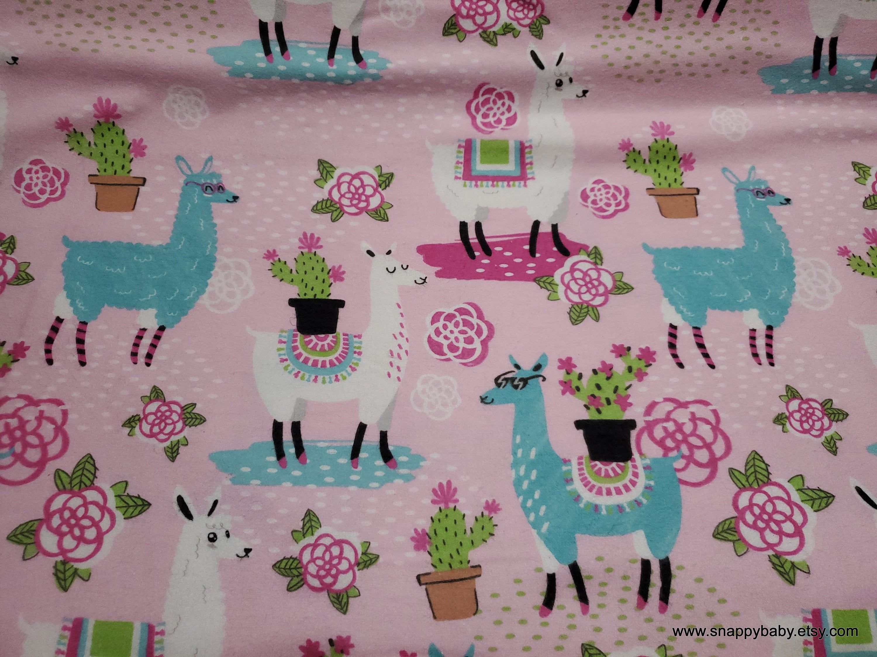 Flannel Fabric Floral Llamas Pink By The Yard 100 Cotton Flannel In 2020 Flannel Fabric Cotton Flannel Handmade