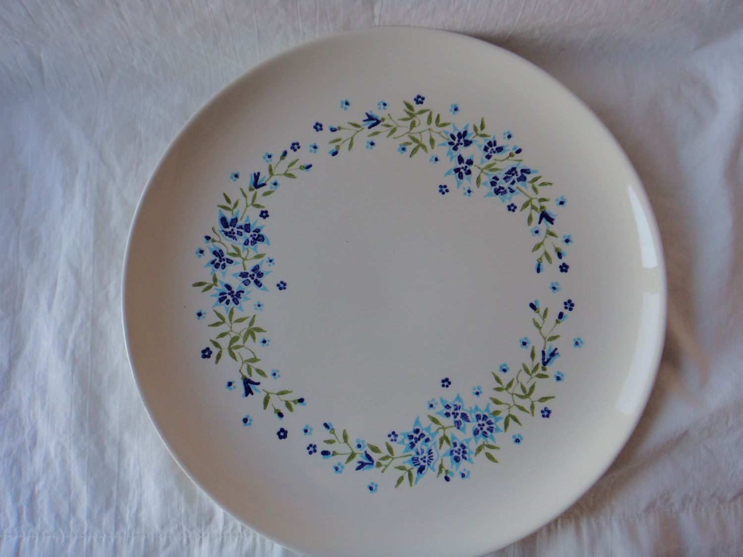 Stetson Creation Dinner Plate STT229 White Blue Flowers Ovenproof Hand Decorated USA by GrandmothersTable on Etsy & Stetson Creation Dinner Plate STT229 White Blue Flowers Ovenproof ...
