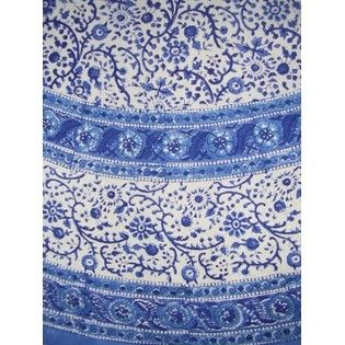 Rajasthan Block Print Tablecloth 72 Inch Round Textiles Of India