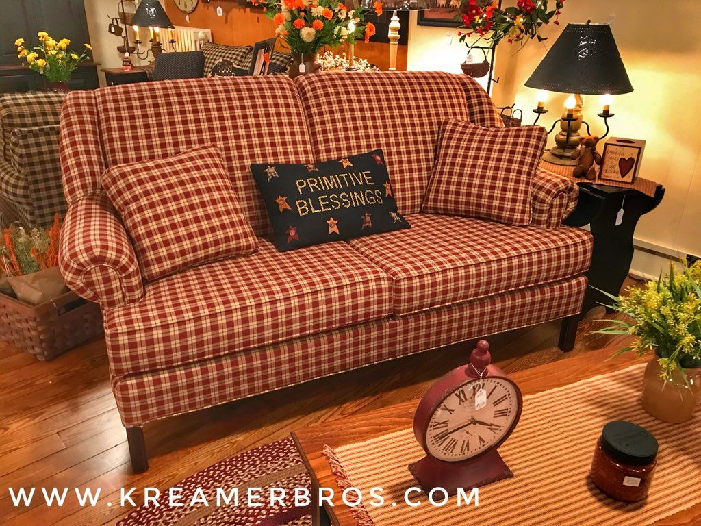 High back country sofa in red plaid fabric with ...