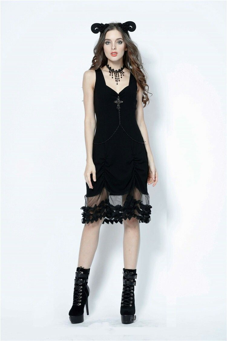 Women/'s Alluring Black Floral Lace Sleeveless Gothic Alternative Dress Goth Emo