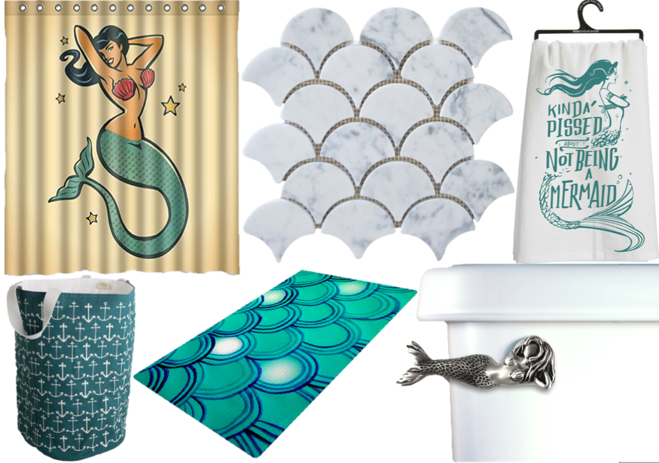 Mermaid decor isn't just for kids: The sexy bitch of the sea bathroom #mermaidbathroomdecor