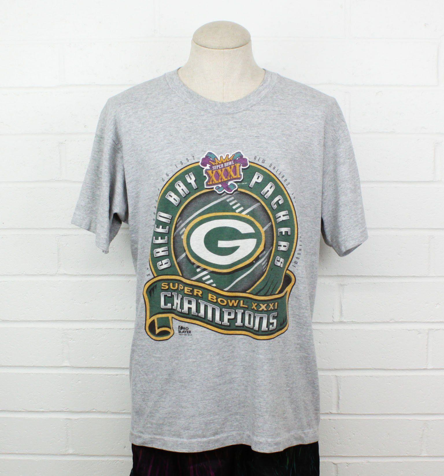 Vintage 90s Green Bay Packers Large Shirt Super Bowl Champions 1997 Gray Tee T Shirt Grey Tee Shirts Heavy Jacket