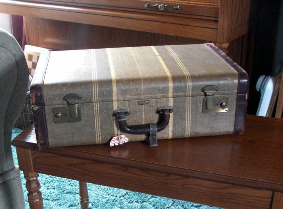 Suitcase for stacking to make an end table