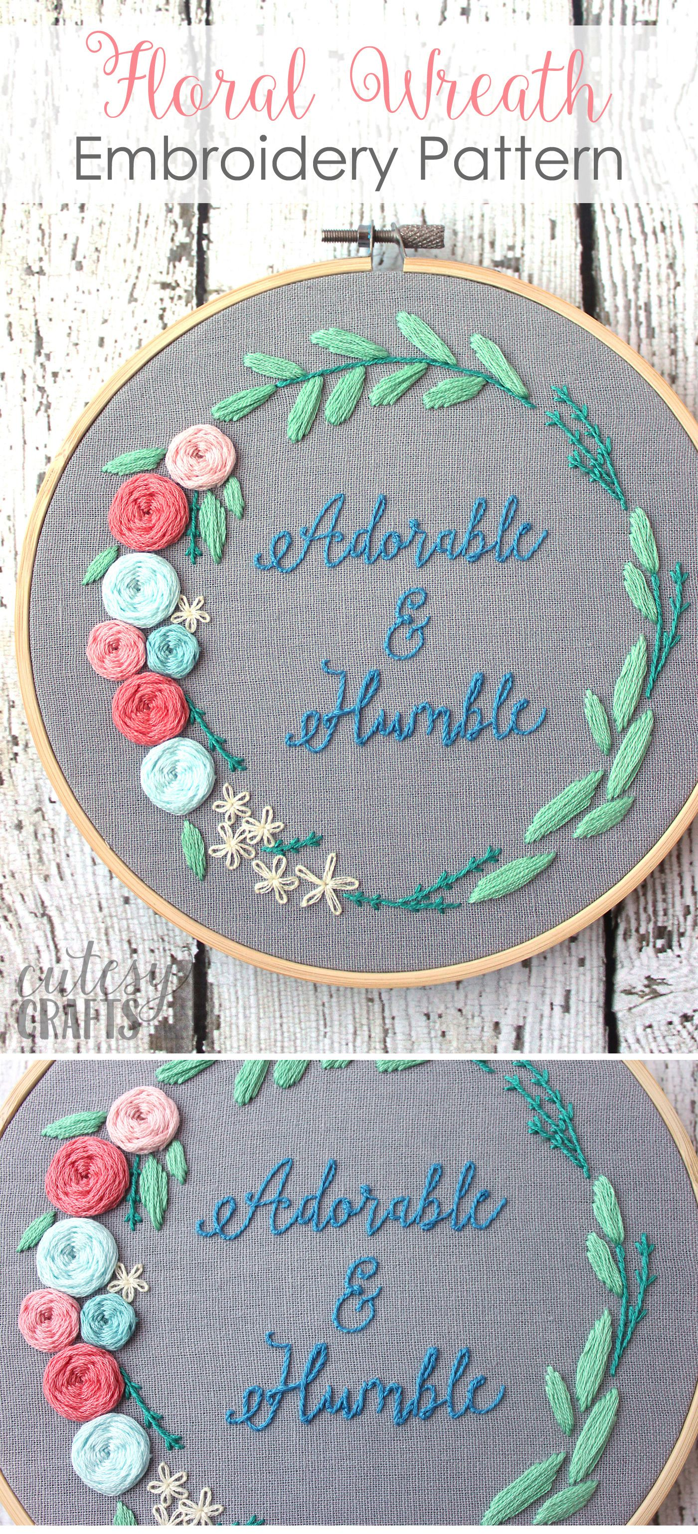 Adorable and humble quote embroidery pattern a gorgeous floral