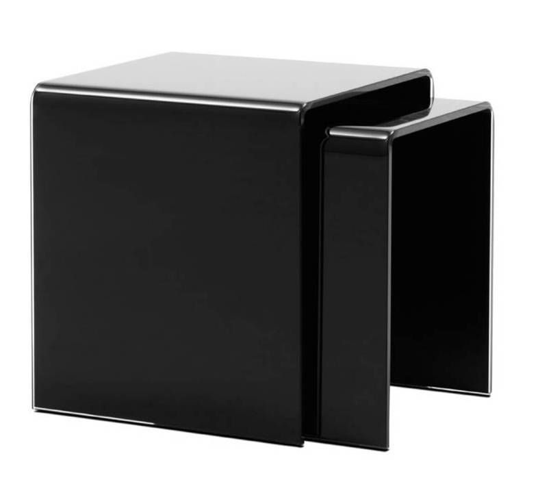 OCCA Nest of tables , 2pcs black glass
