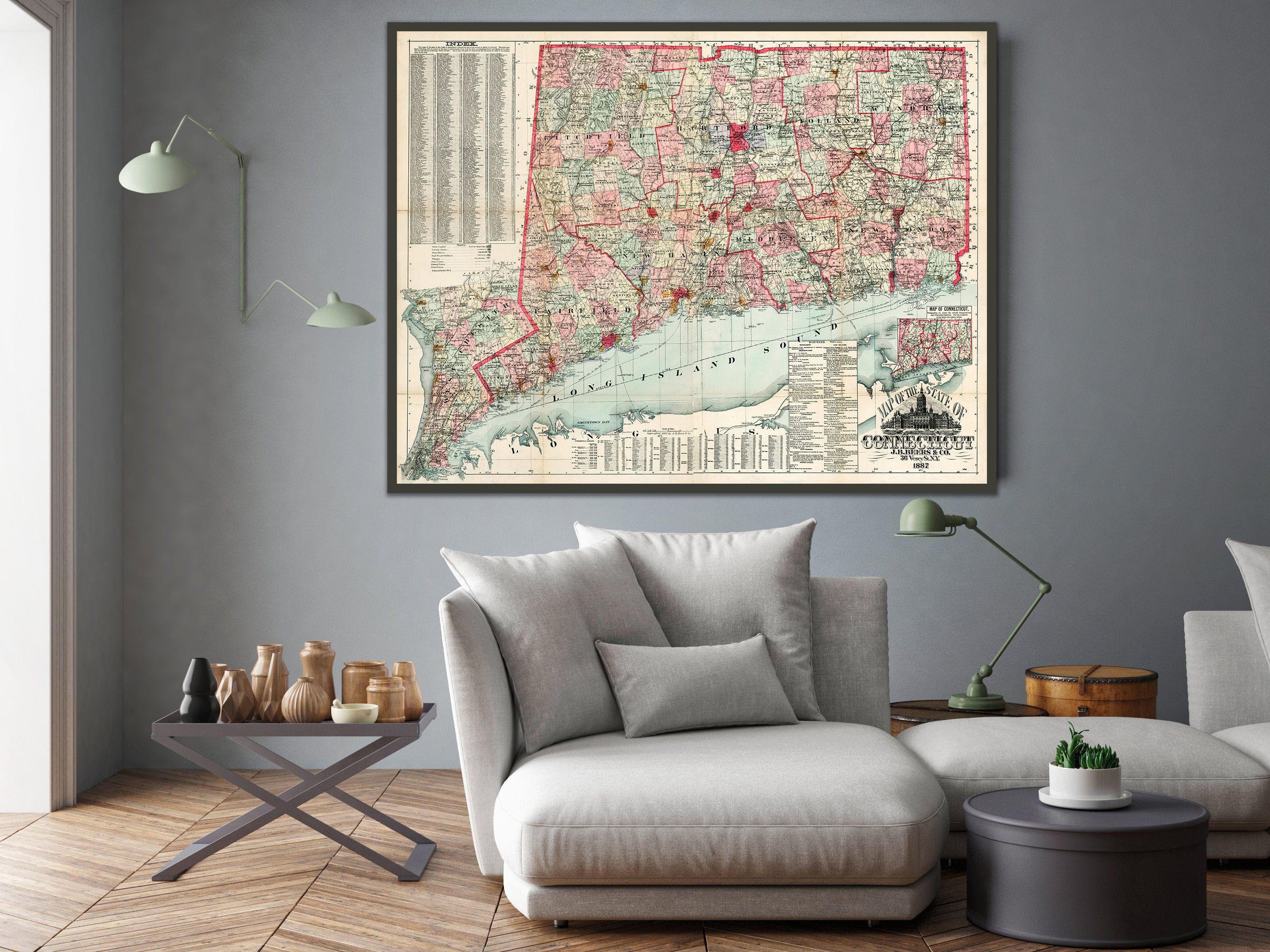 Map Of The State Of Connecticut 1887 Large Connecticut Map Art Print 35 5x46 25 Inches Map Art Print Wall Maps Antique Map