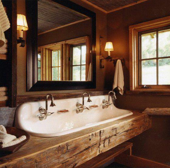 badezimmer waschbecken dreifach holzeinrichtung holzplatte ... | {Badezimmermöbel holz massiv 74}