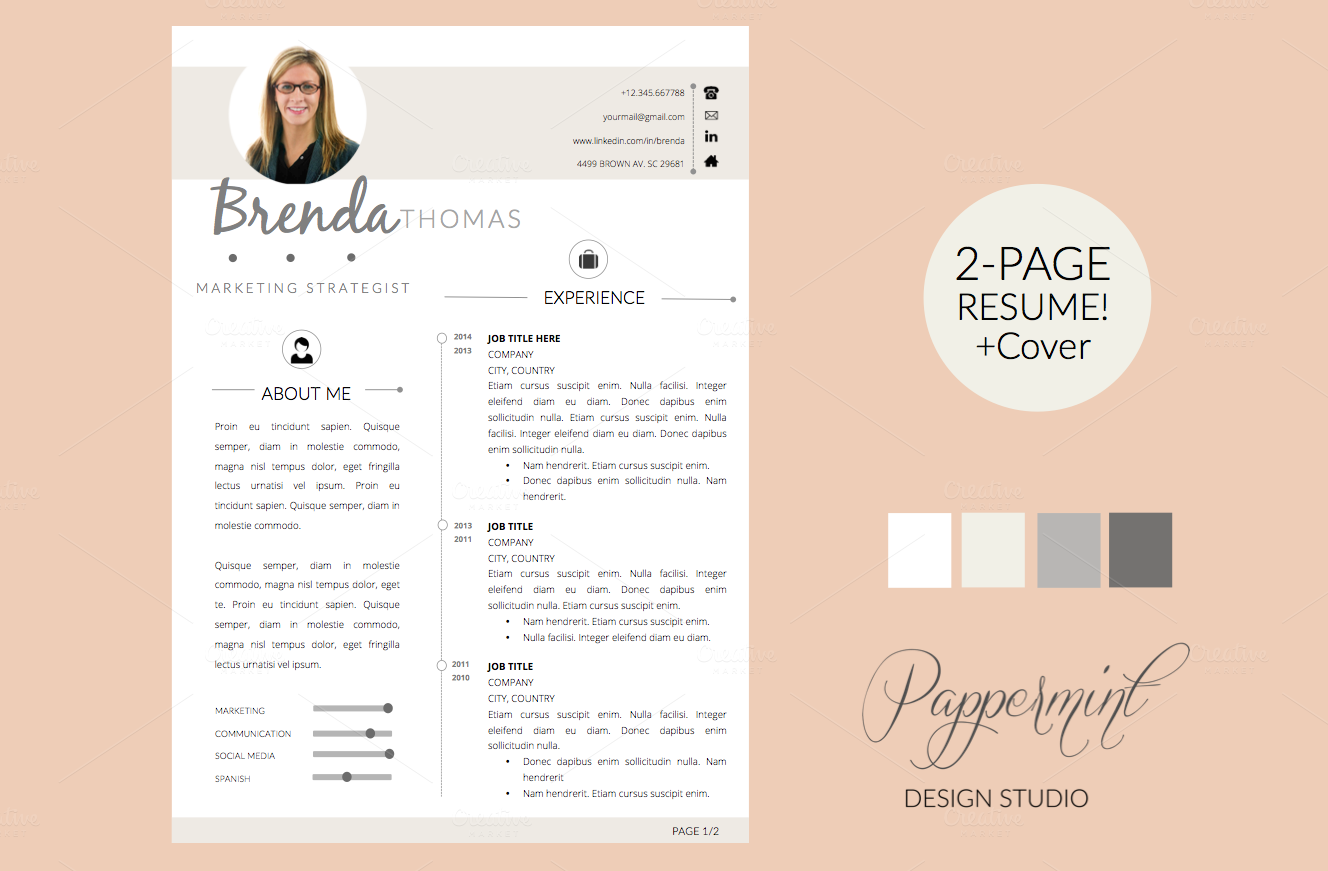 Resume Template + Cover Letter WORD by PAPPERMINT on Creative Market ...