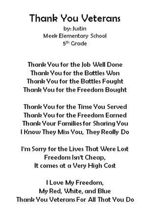 Thank You Poems Letter Veterans Quotes Military Cards