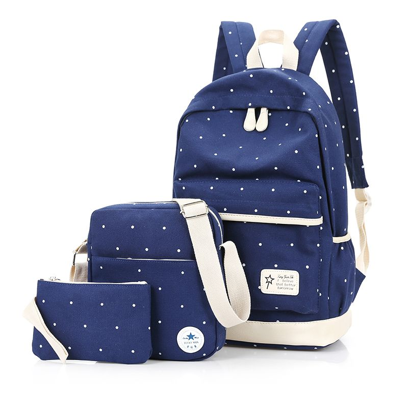 7f2c27f7fa Cloth Shake New casual women backpack canvas school bags travel backpacks  for teenage girls preppy style dots women bag set