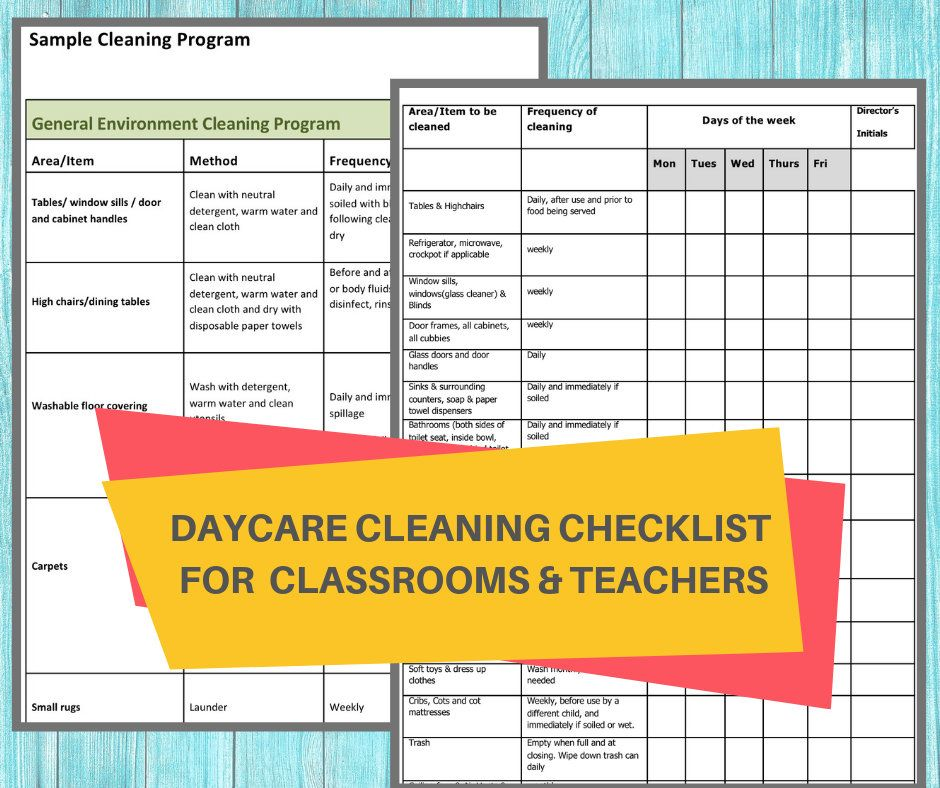 Daycare Cleaning Checklist Keep A Nice Tidy Child Care Center Ensure Your Classrooms Stay Sanitized And Germ Free Cleaning Checklist Childcare Center Daycare Forms