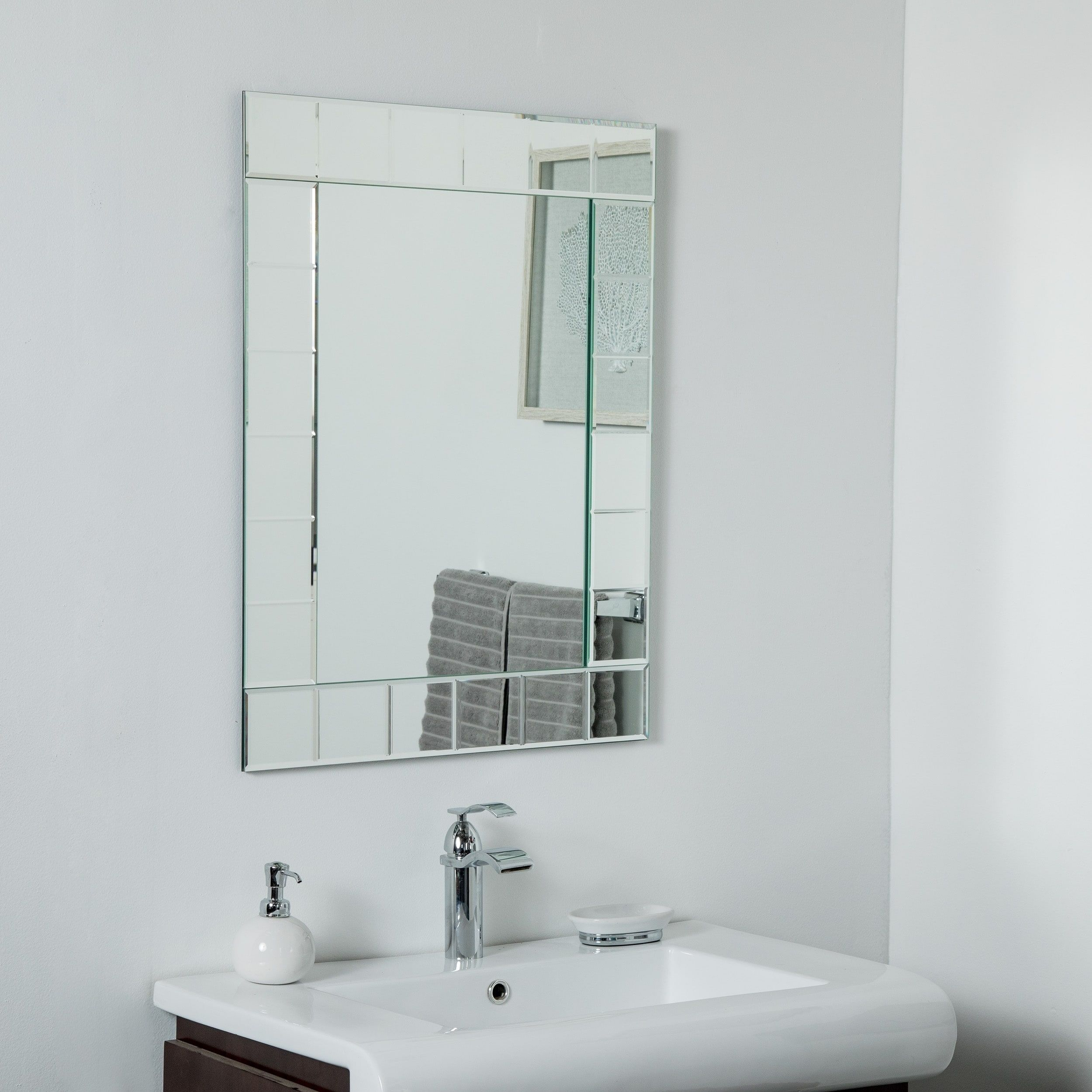 Lalo Large Frameless Mirror 31 5 X 23 6in Wall Mirror Silver
