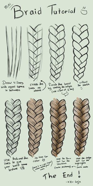 A step by step tutorial on how to draw braids on sumopaint