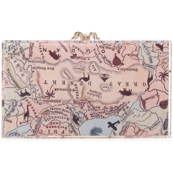 Charlotte Olympia Women's Map Printed Pandora Clutch (6.610 ARS) ❤ liked on Polyvore featuring bags, handbags, clutches, multi, pink clutches, lucite handbags, pink handbags, acrylic purse and clasp purse