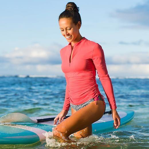 Ruched Guard UV long sleeve swim shirt for my fair skin | Swim shirts for  women, Rash guard women swimwear, Rash guard women