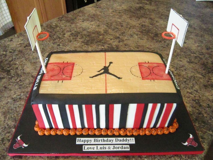 Chicago Bulls Basketball Court Cake Basketball Nba Cakes