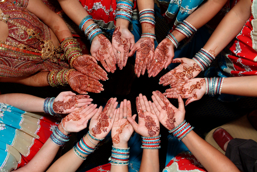 Group Mehndi Hands : The next ceremony mehendi takes place day before wedding