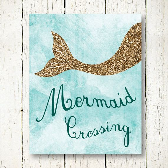 Mermaid Printable, Gold Glitter Wall Art, Mermaid Poster, Light Blue Wall  Decor,