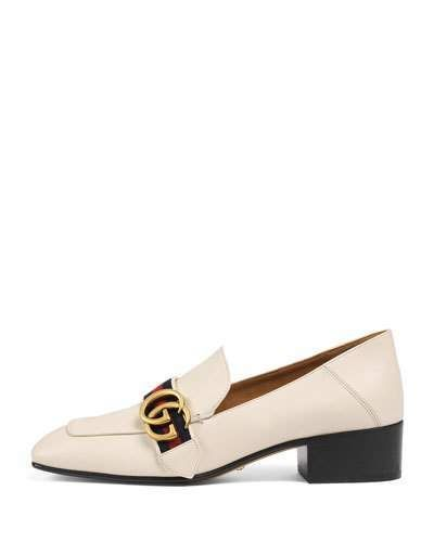 e68822f33 Gucci leather loafer with antiqued golden studding. Convertible design  allows the heel to be worn up or folded down. 1.5