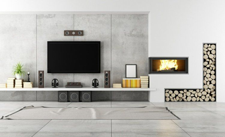 Fixation murale tv et cheminée sur le même mur en 39 idées | Salons ...