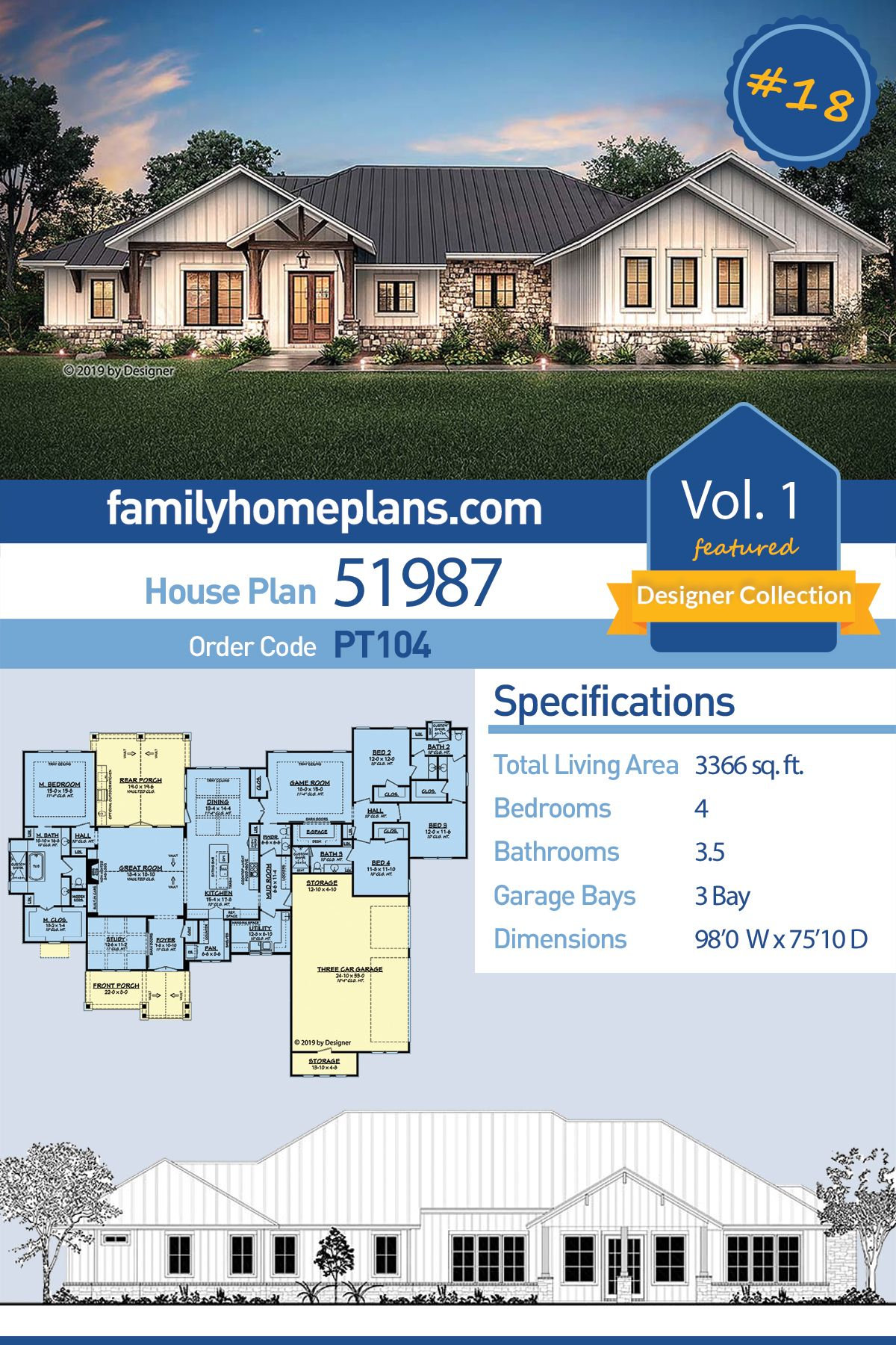 Ranch Style House Plan 51987 With 4 Bed 4 Bath 3 Car Garage Ranch Style Homes Ranch Style House Plans Ranch House Plans