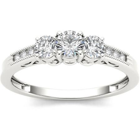 Imperial 1/2 Carat T.W. Diamond Three-Stone 14kt White Gold Engagement Ring