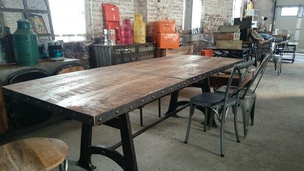 table de salle à manger industrielle extensible | mobilier