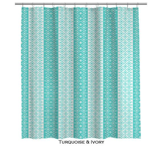 Moroccan Turquoise And Ivory Shower Curtain 107 By Anitavee