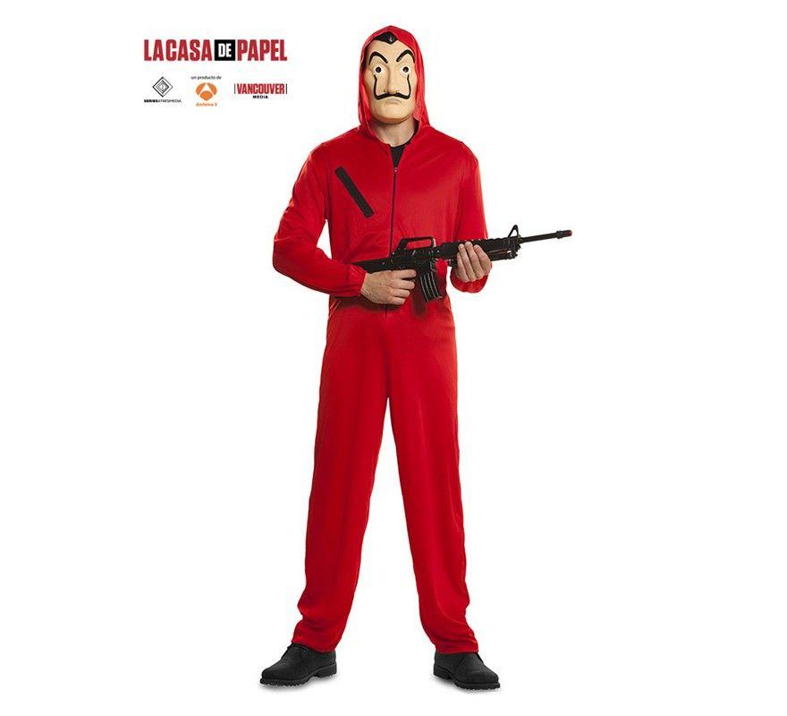 Godmoy Disfraz de Dali Rojo Unisex Disfraz de La Casa De Papel con m/áscara Overol con Capucha Mono Disfraz de Halloween para ni/ños