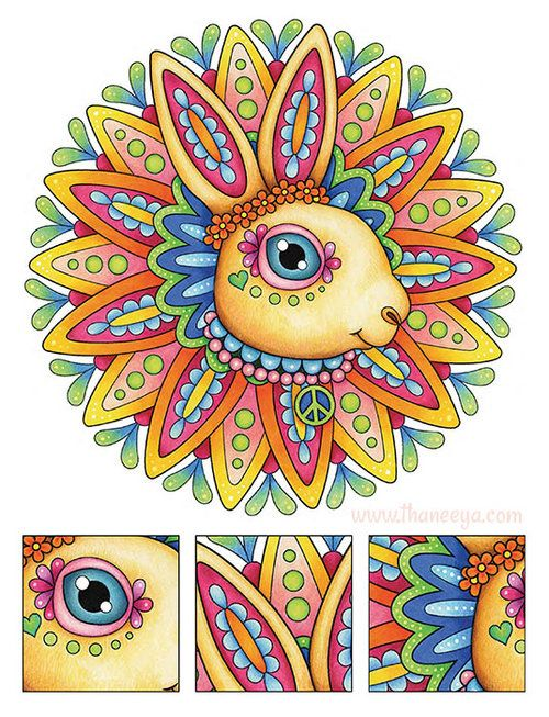 43 Hippie Animals Coloring Book Free