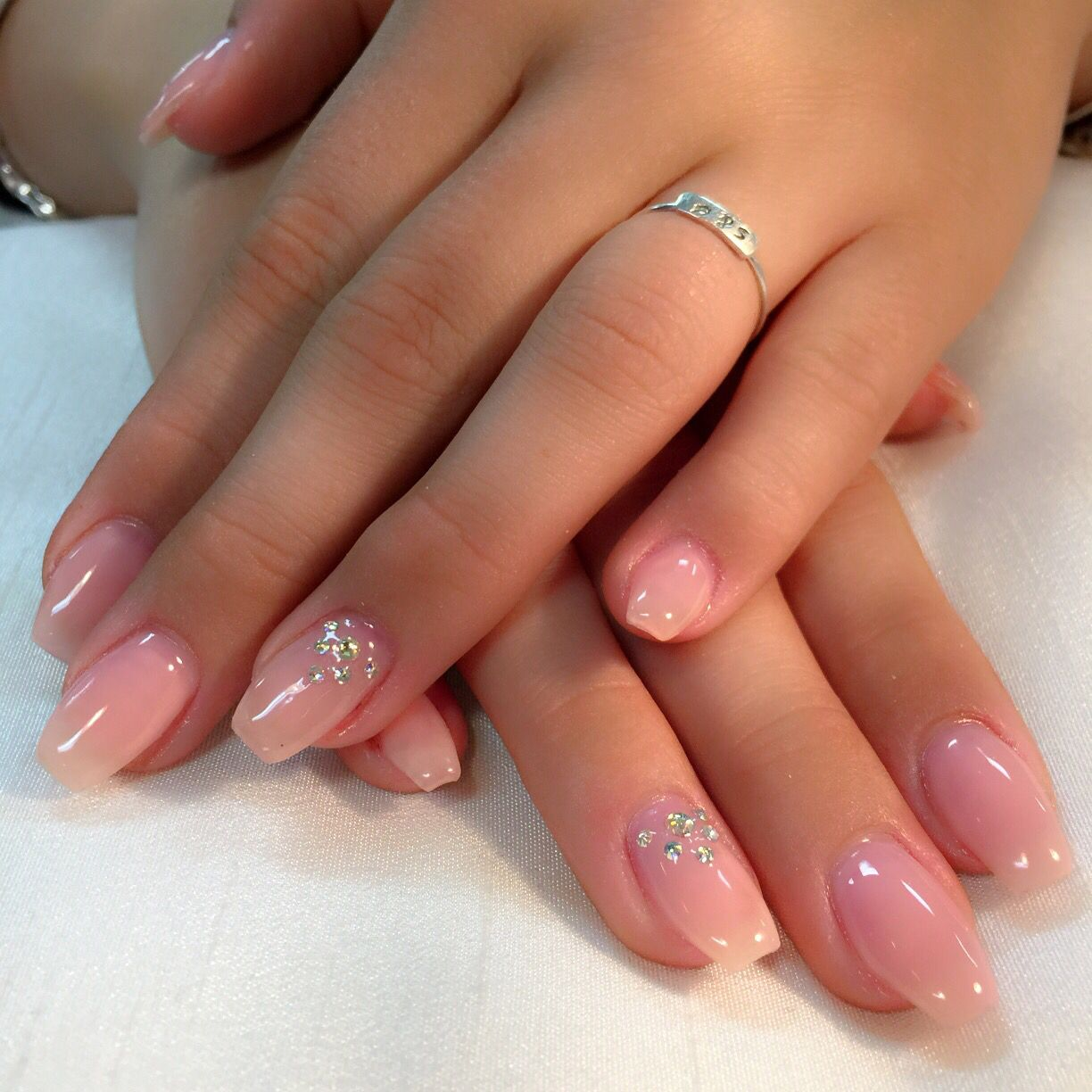Pink For Prom Nail Ideas: Sheer Pink#prom Nails#pretty Nails#coffin Shape