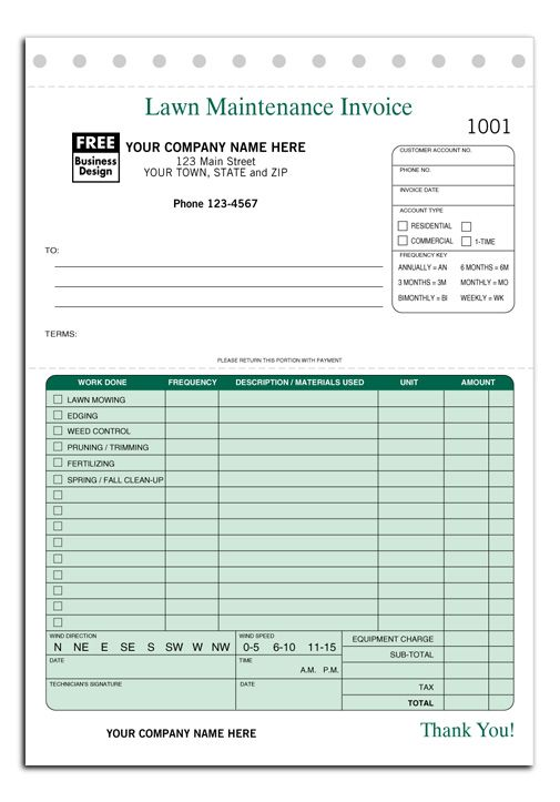 Lawn Maintenance Invoice Form  Bbq    Lawn Maintenance