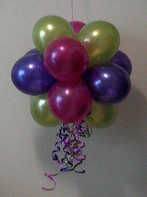 Hanging balloon ball cute idea for a birthday party for Balloon cluster decoration