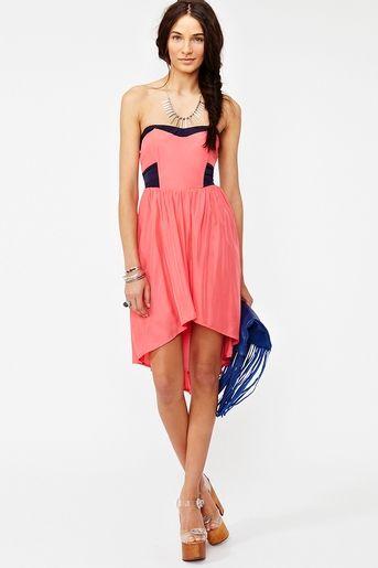 color block tail dress