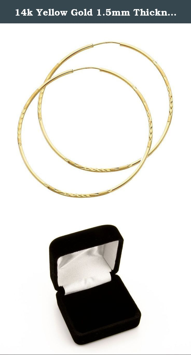 14k Yellow Gold 15mm Thickness Endless Hoop Earrings (55 X 55 Mm)