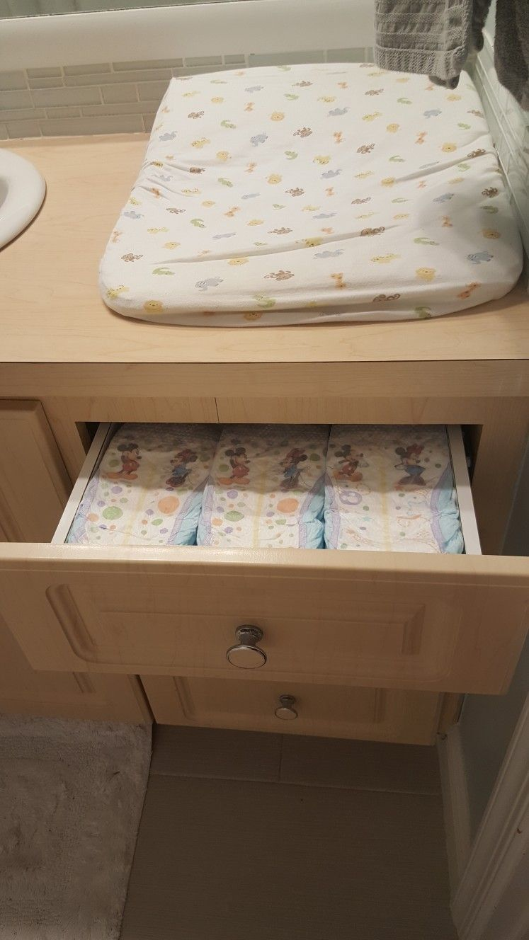 Baby Diaper drawer in the bathroom. Easy way to always ...