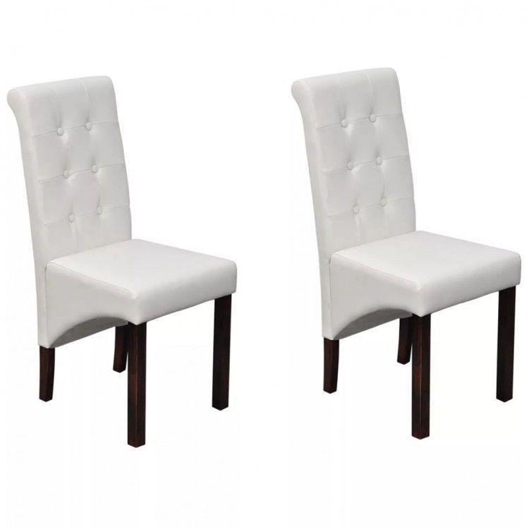 Tufted Dining Table Chairs Set Of 2 White Faux Leather Upholstered Seat Recliner Upholstered Dining Chairs Dining Table Chairs Comfortable Dining Chairs