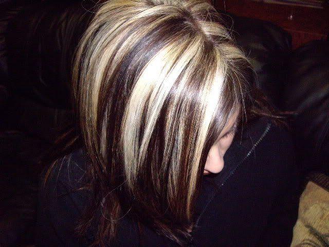 Platinum Slices With A Medium Dark Mocha Base Hair N
