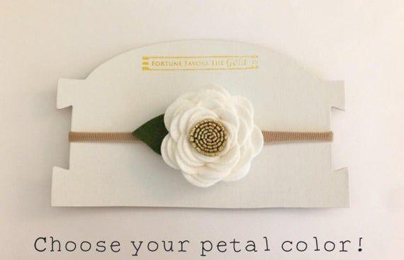 White Gold Felt Flower Headband, White Gold Blush Headband, White Ivory Gold Flower Crown, Choose Your Color Petals, Baby Toddler Gir #feltflowerheadbands